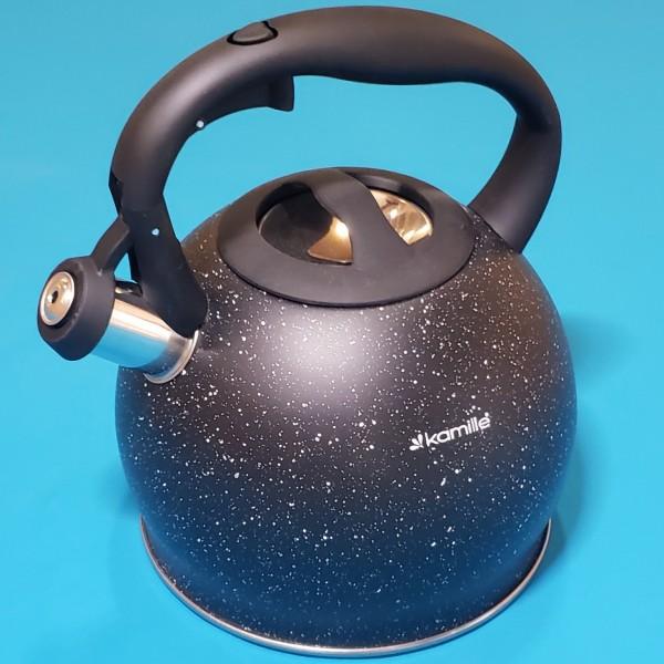 Чайник Kamille 1074 KM 3л з нержавіючої сталі зі свистком і ручкою soft touch (чорний мармур)