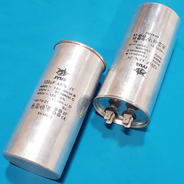 Конденсатор 120 мкФ 450 VAC алюміній (60х130 mm) JYUL