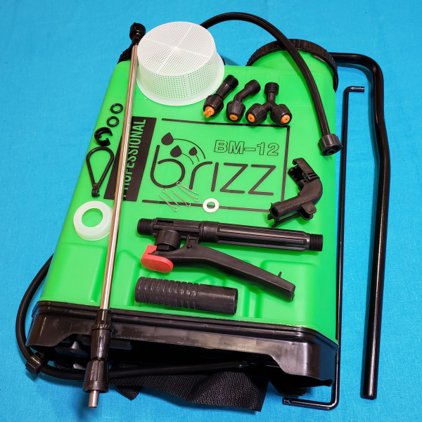 Обприскувач BRIZZ 12 л BS1-12 L ранець 3 насадки телескоп нержавійка  50/90 фільтр