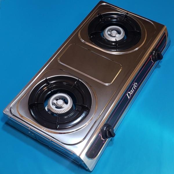 Газовий таганок Dario DR1012G 2-х камфорний нержавійка автопідпал  теплова потужність 2х2,8 кВт