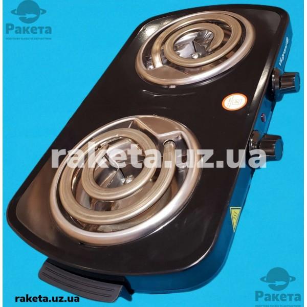 Плита електрична Vilgrand VHP142D Black 1000W+1000W 2-х камфорна ШИРОКИЙ ТЕН 2 елементи d=155 мм ЧОРНА