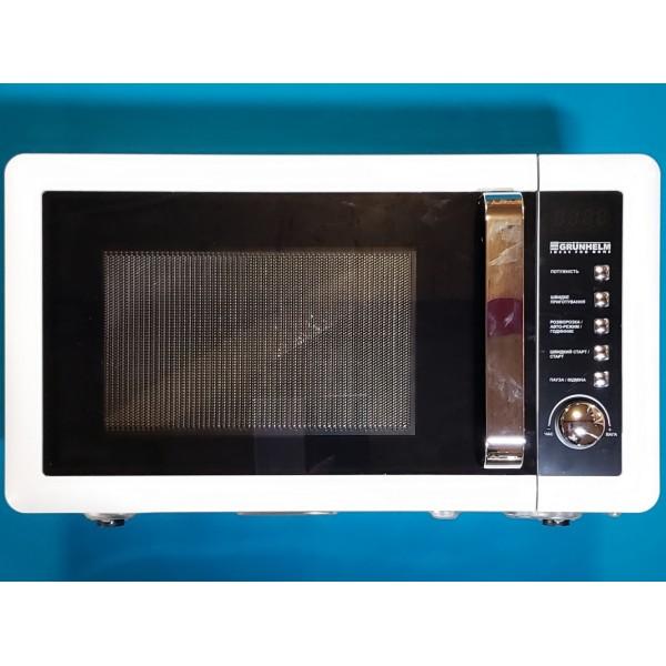 Мікрохвильова піч Grunhelm 20UX45-LW біла 20л 800W 5 рівнів потужності, кнопка з повор регулят таймер 60 хв
