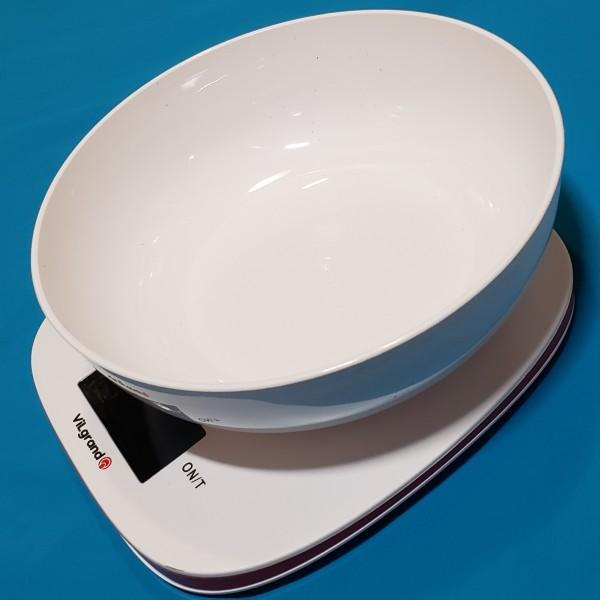 Ваги кухонні електронні Vilgrand VKS-517 White з чашею 5кг точність 1г автовикл