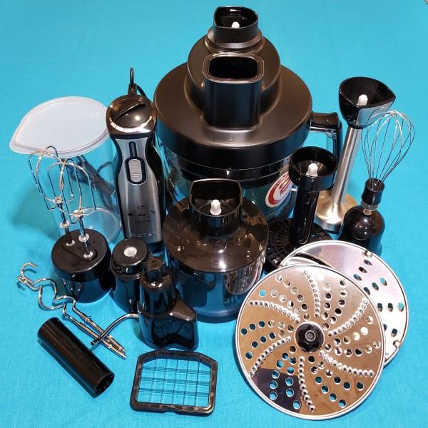 Блендер Rotex RТB890-B 1000W 2 швидкості нога нержавійка чаша 0,4 л 2,0л терка для дирунів вінчик мірний стакан насадки