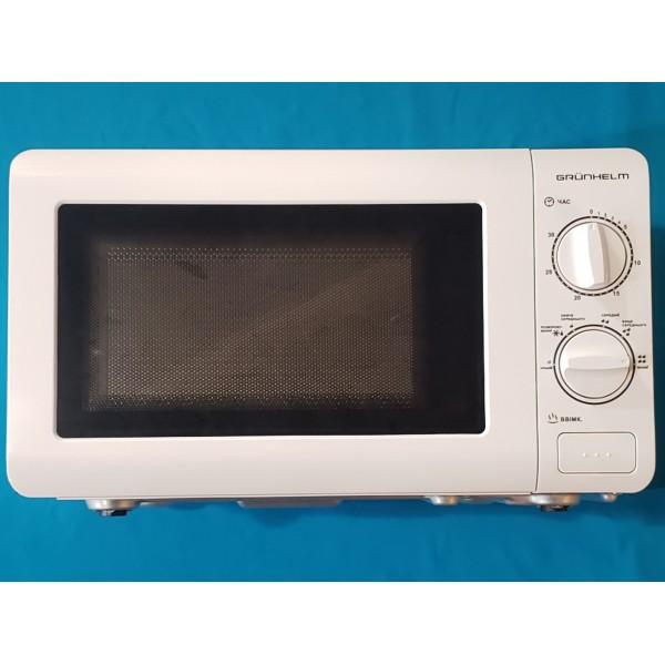 Мікрохвильова піч Grunhelm 20MX60-L біла 20л 800W 6 рівнів потужності механічна