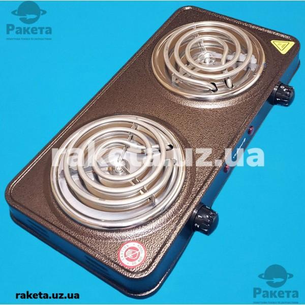 Плита електрична Vilgrand VHP132 Brown 1000W+1000W 2-х камфорна ПРОСТА 2 елементи d=150 мм КОРИЧНЕВА