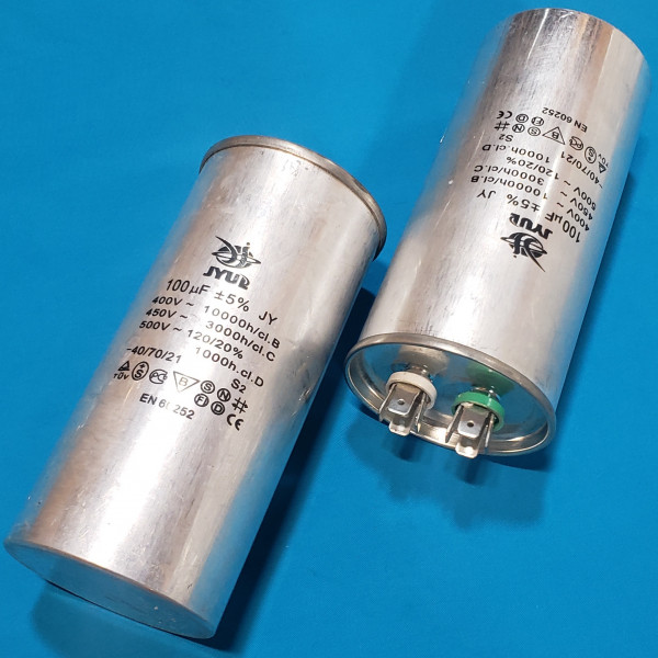 Конденсатор 100 мкФ 450 VAC алюміній (60х130 mm) JYUL