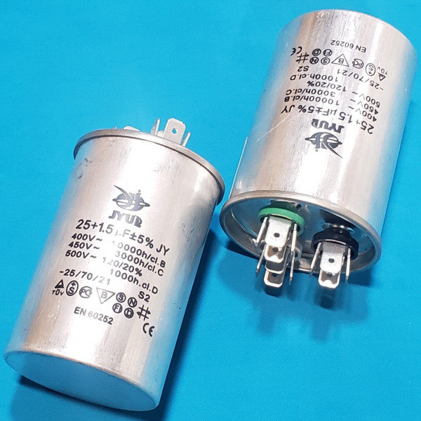 Конденсатор 25+1,5 мкФ 450 VAC алюміній (50х75 mm) JYUL